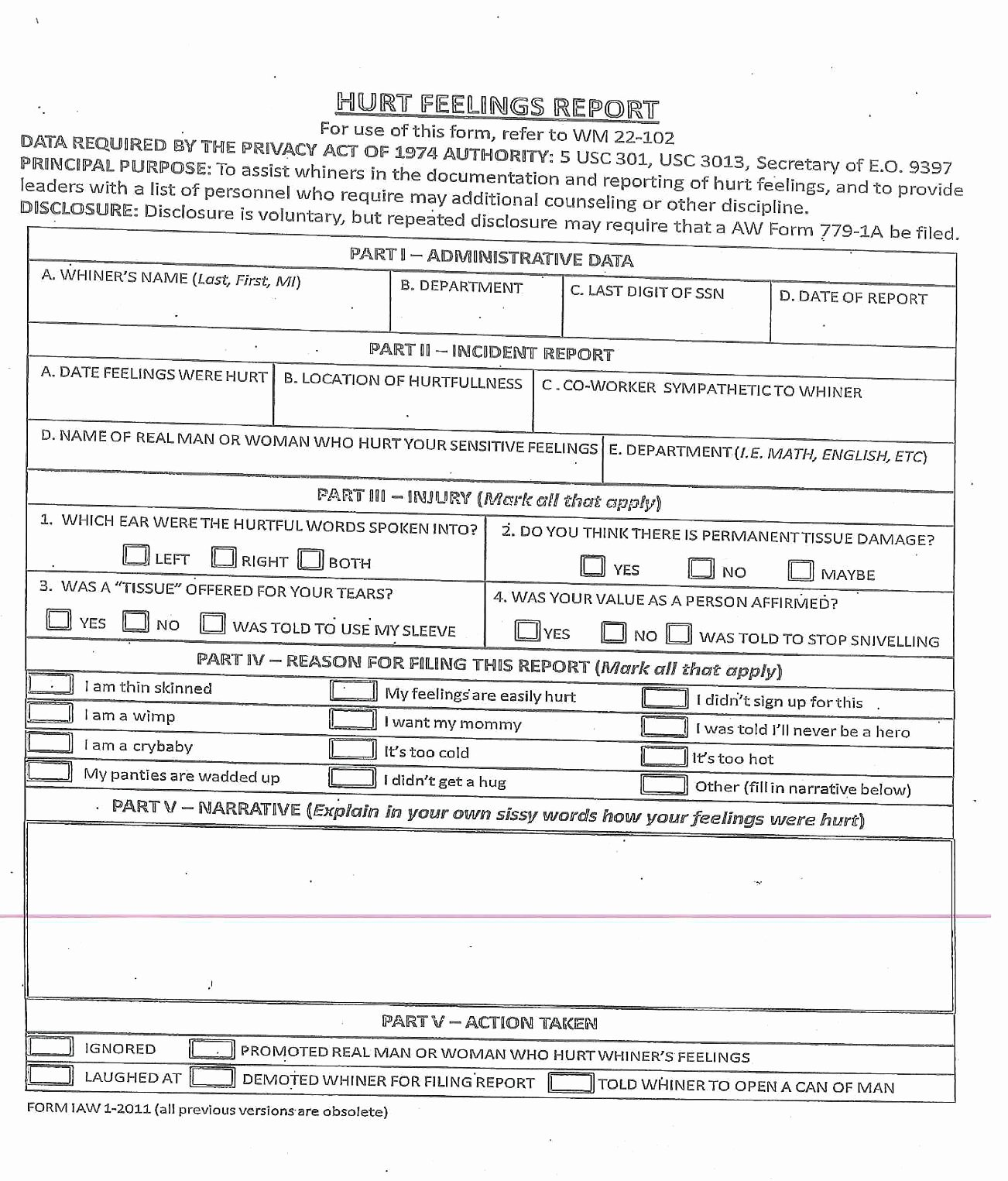 Hurt Feelings Report Template Best Of Id10t form Pdf Ourclipart