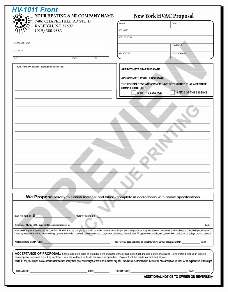 Hvac Proposal Templates Free Best Of Hv 1011 Hvac Service & Repair Proposal Ny Pliant
