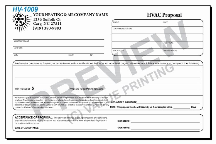 Hvac Proposal Templates Free Elegant 17 Best Images About Hvac forms On Pinterest