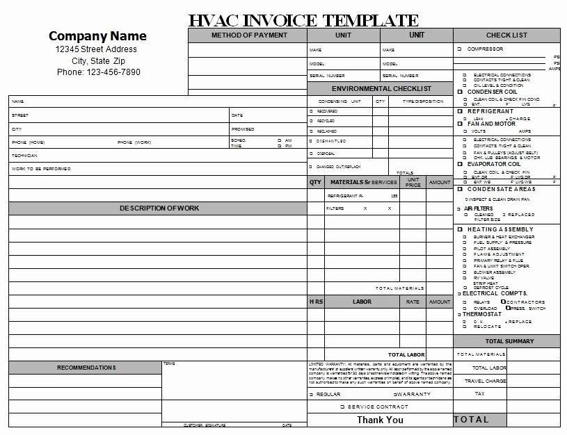 Hvac Proposal Templates Free Inspirational Hvac Repair Invoice Download