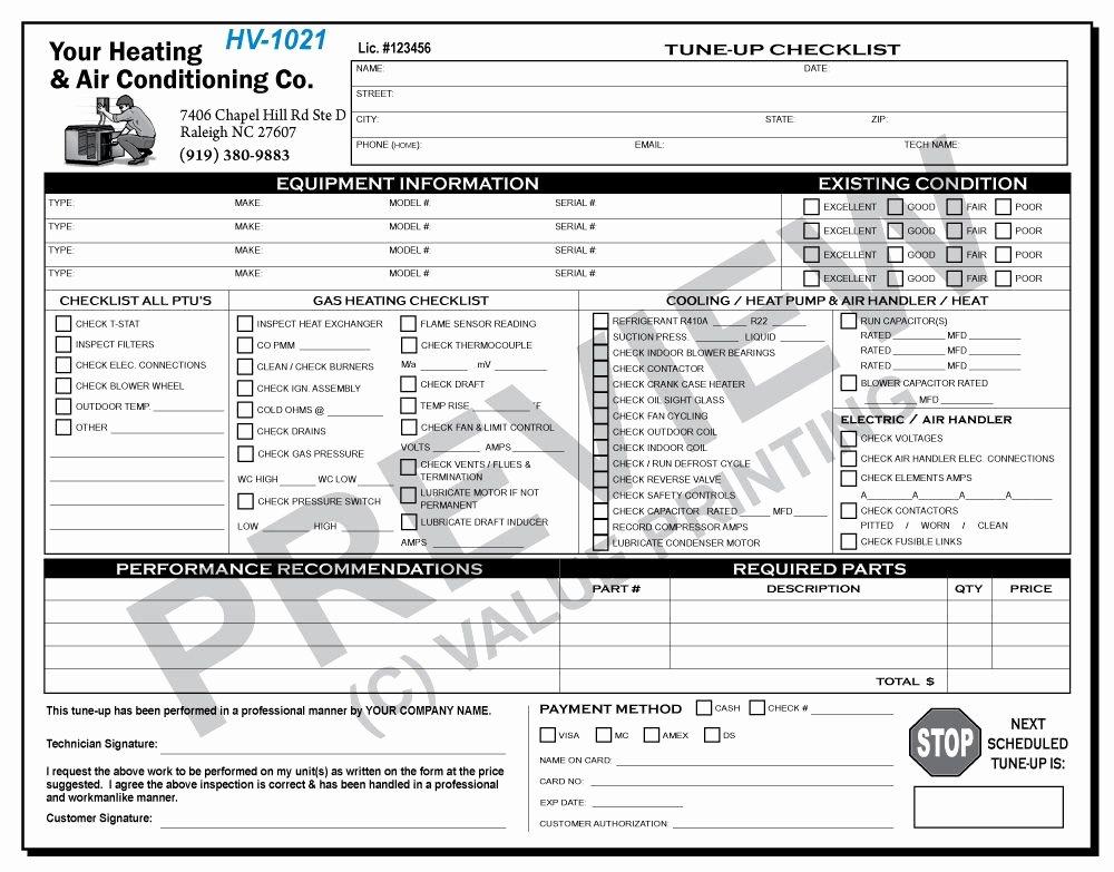 Hvac Proposal Templates Free Luxury Hv 1021 Hvac Tune Up Work order Checklist