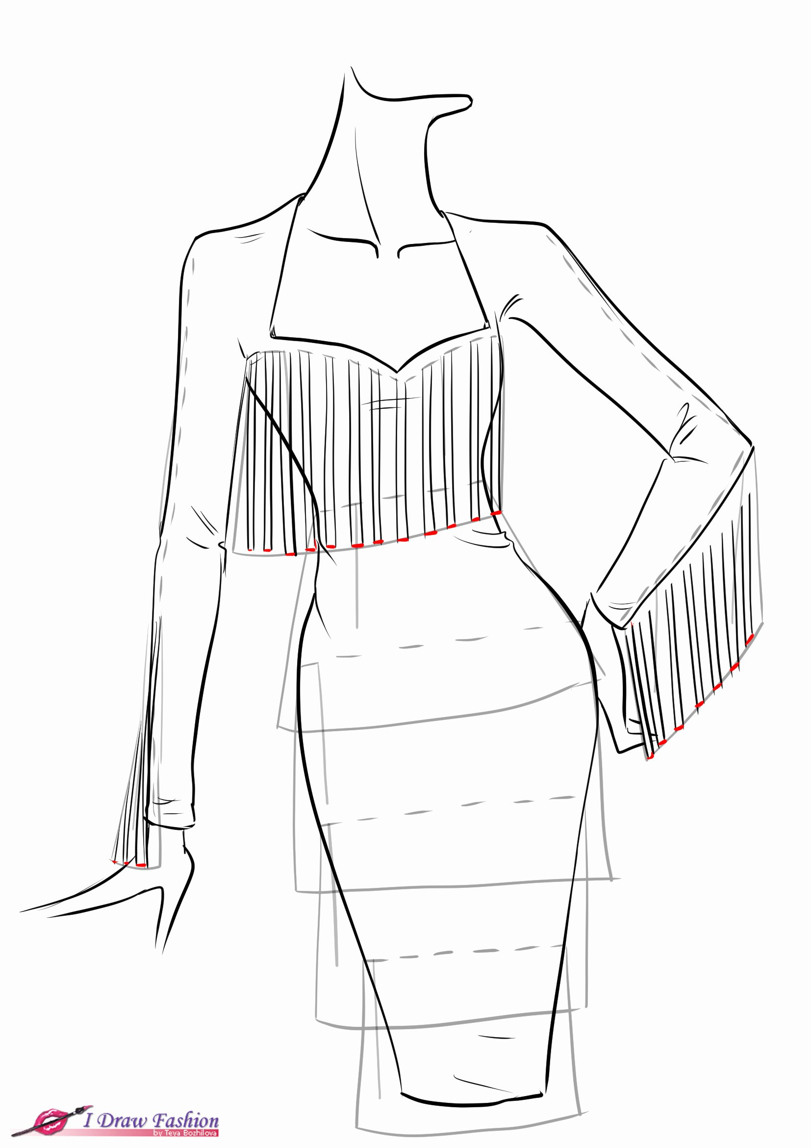 I Draw Fashion Fresh How to Draw Fringe Dress