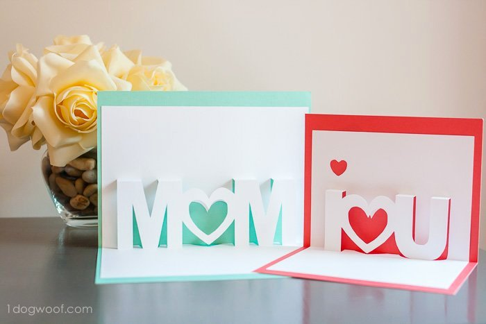 I Love You Pop Up Card Template Lovely Mom I Love You Pop Up Cards with Free Silhouette Cut