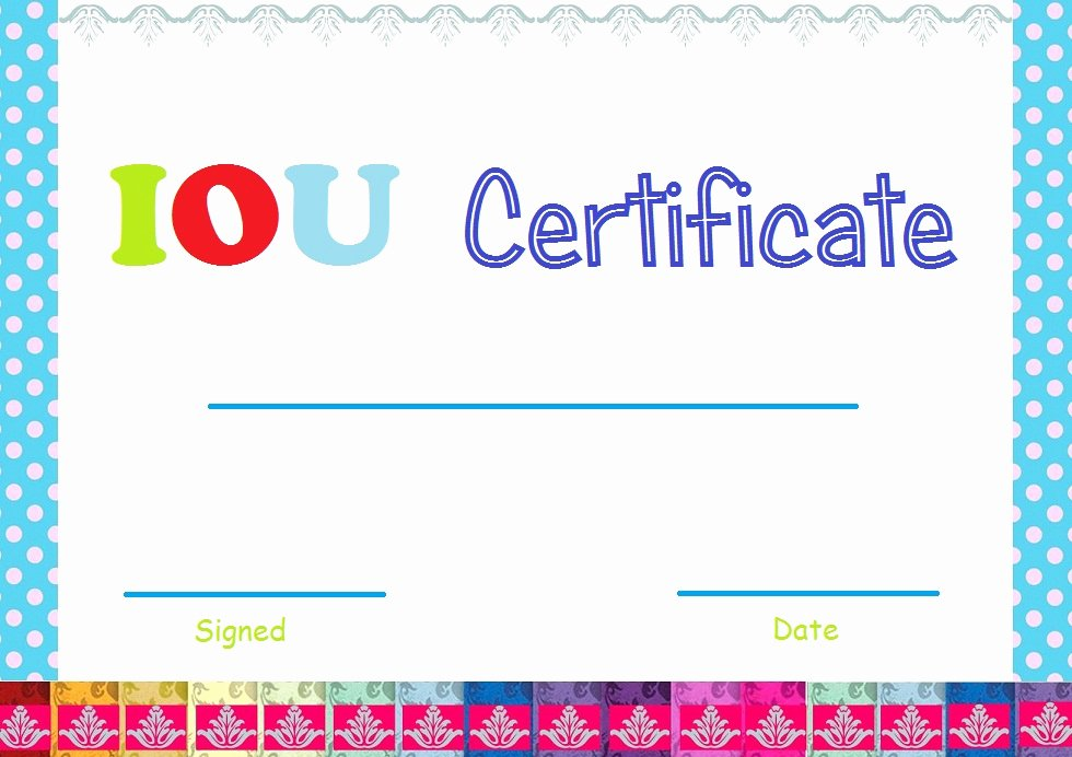 I Owe You Template Fresh Select and Print Iou Certificates and Cards Fresh Designs