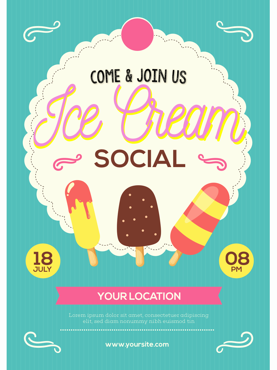 Ice Cream social Flyer Template Awesome Ice Cream social Flyer