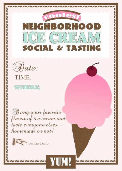 Ice Cream social Flyer Template Free Awesome 35 Best Images About Neighborhood Party On Pinterest