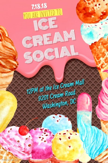 Ice Cream social Flyer Template Free Beautiful Ice Cream social Template