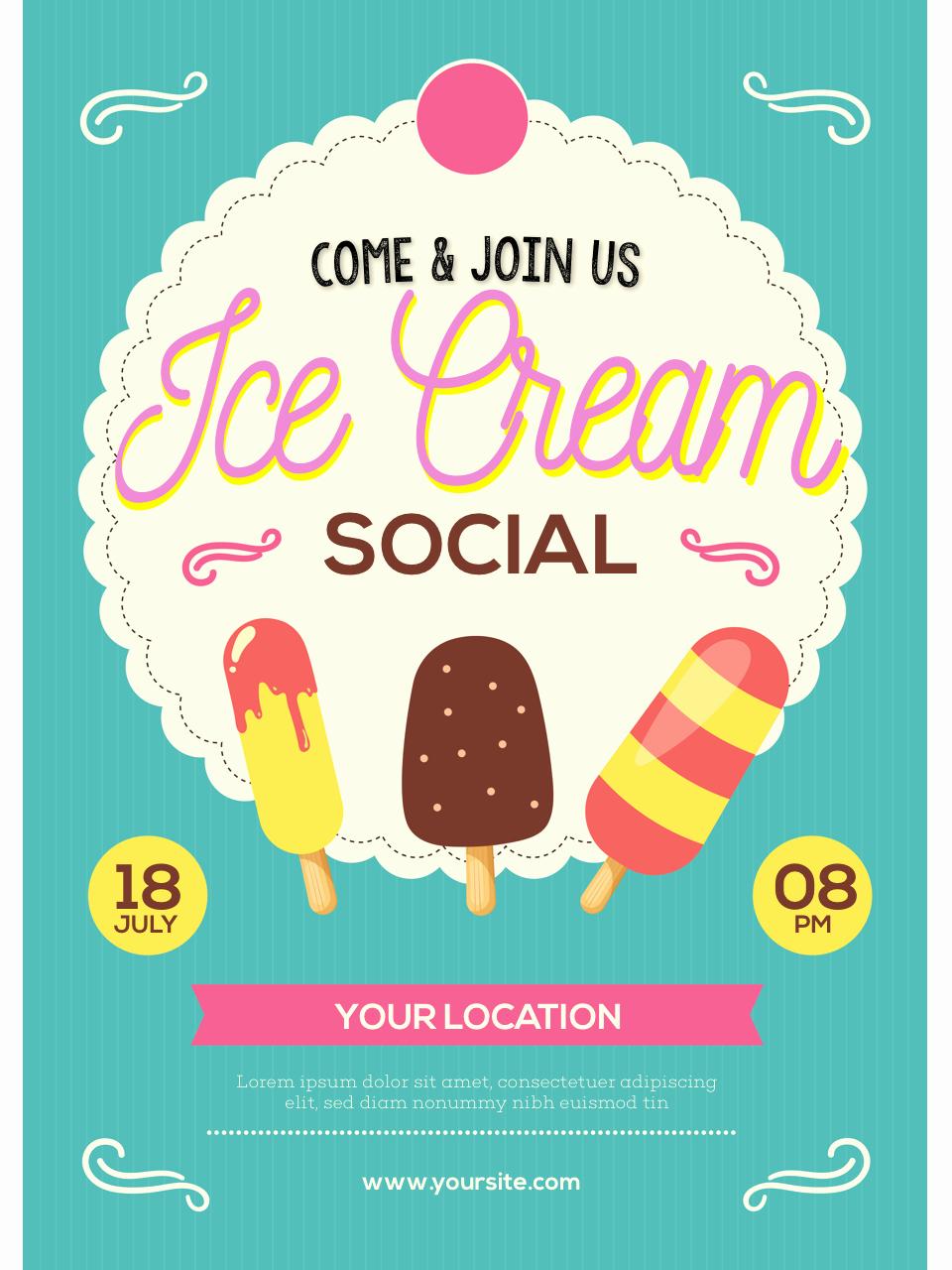Ice Cream social Flyer Template Free Elegant Ice Cream social Flyer