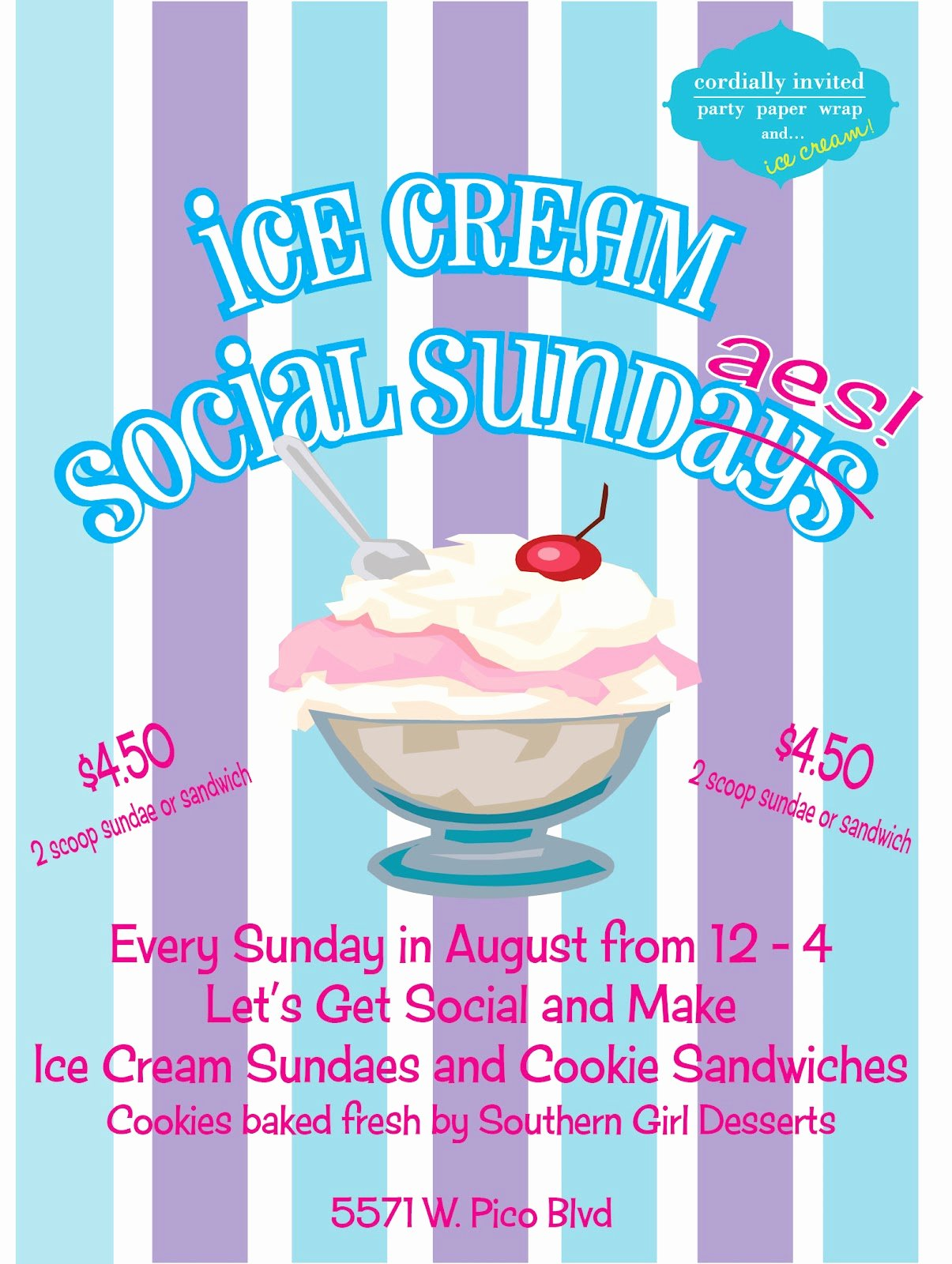 Ice Cream social Flyer Template Free Elegant Party Paper & Wrap with Cordially Invited August 2012