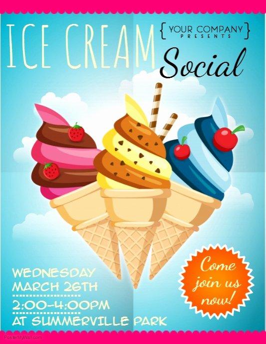 Ice Cream social Flyer Template Free Fresh Ice Cream social Flyer Template