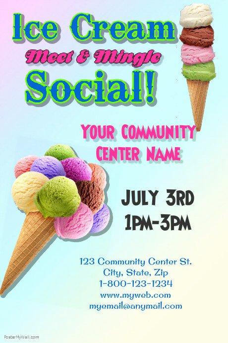 Ice Cream social Flyer Template Free Inspirational Ice Cream social Template