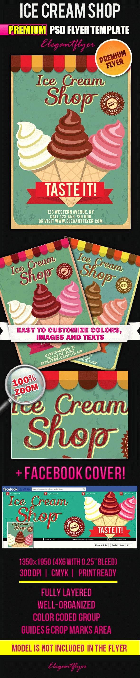 Ice Cream social Flyer Template Free Luxury Ice Cream Shop Invitation – by Elegantflyer