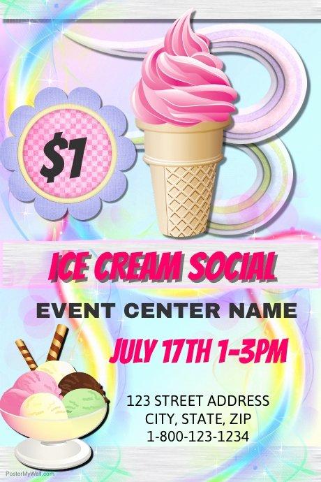 Ice Cream social Flyer Template Free Unique Ice Cream social Template