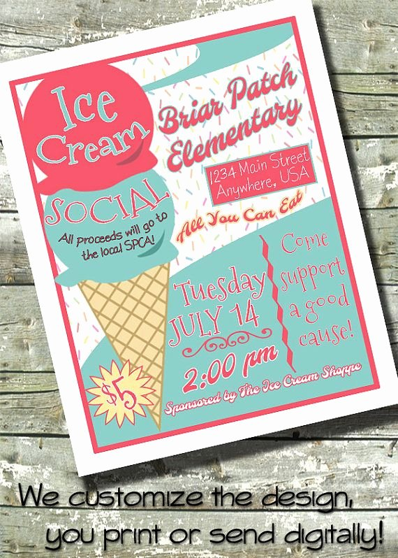 Ice Cream social Flyer Template Lovely Ice Cream social 5x7 Invite 8 5x11 Flyer 11x14 by