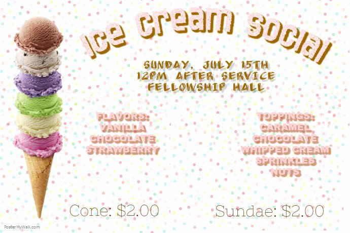 Ice Cream social Flyer Template Lovely Ice Cream social Template