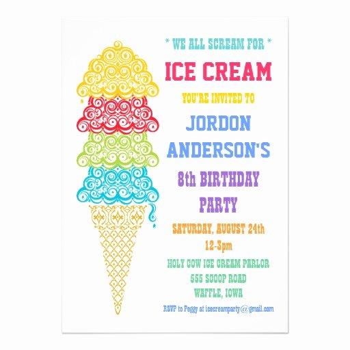 """Ice Cream social Invite Template Awesome Colorful Ice Cream Cone Party Invitation 5"""" X 7"""