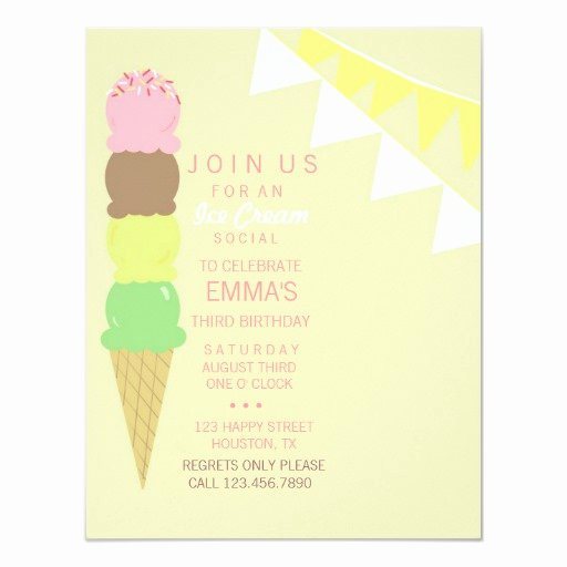Ice Cream social Invite Template Awesome Ice Cream social Party Invitation