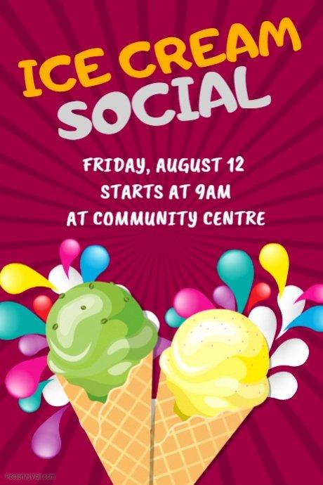 Ice Cream social Invite Template Beautiful Ice Cream social Poster Template