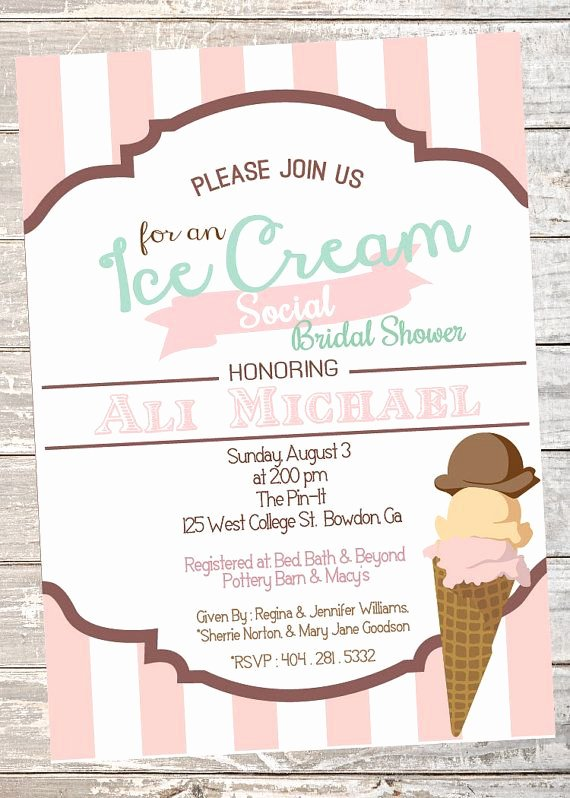 Ice Cream social Invite Template Beautiful Ice Cream social Wedding or Bridal Shower Invitation by