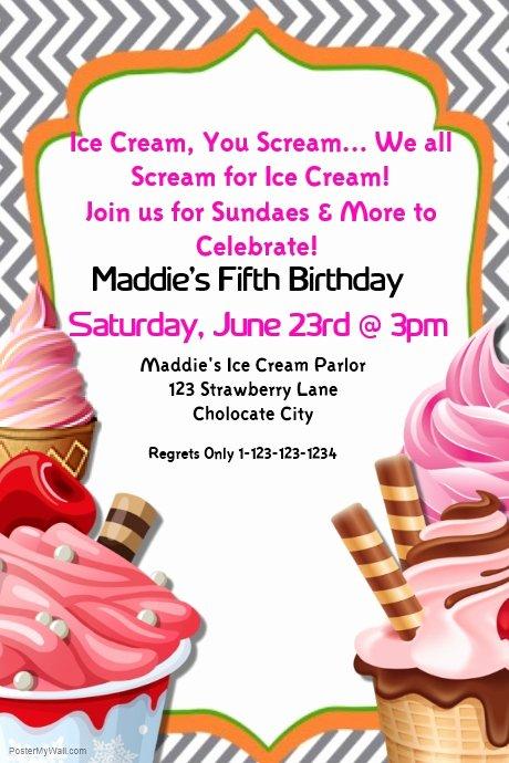 Ice Cream social Invite Template Elegant Ice Cream Birthday Party Invite Template