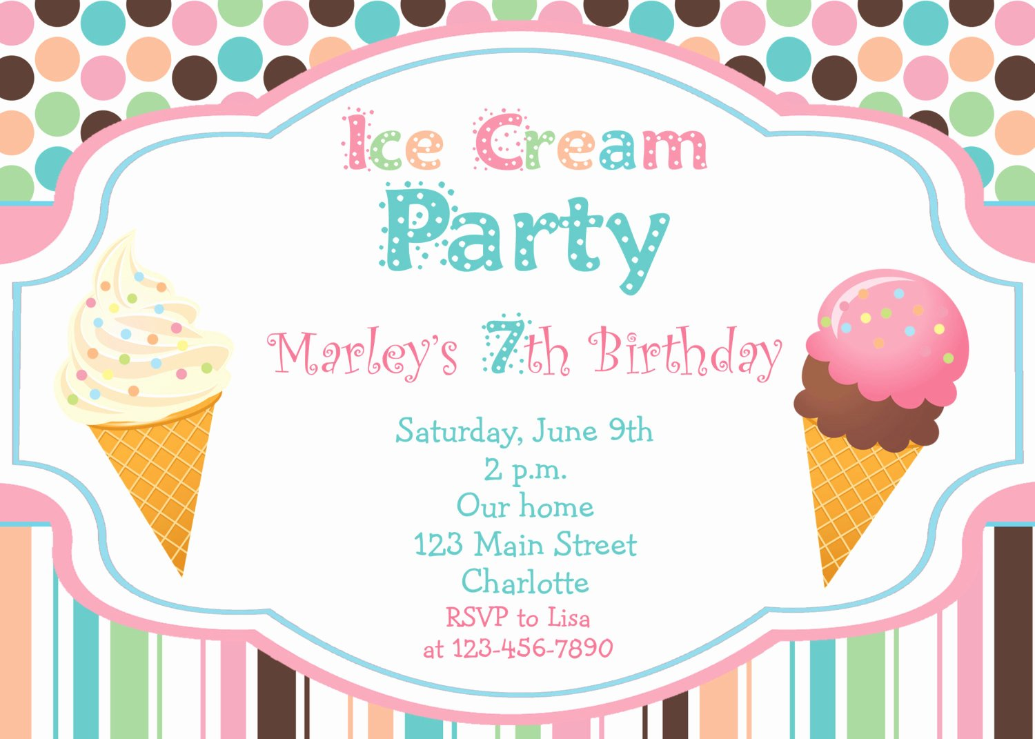 Ice Cream social Invite Template Fresh Ice Cream Party Birthday Invitation Ice by thebutterflypress