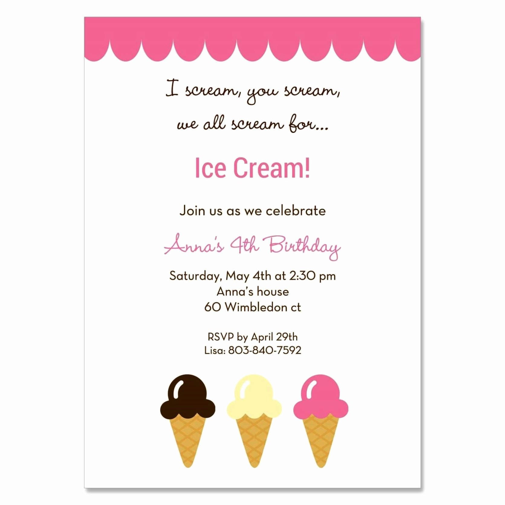 Ice Cream social Invite Template Fresh Ice Cream social Invitation Template Sampletemplatess