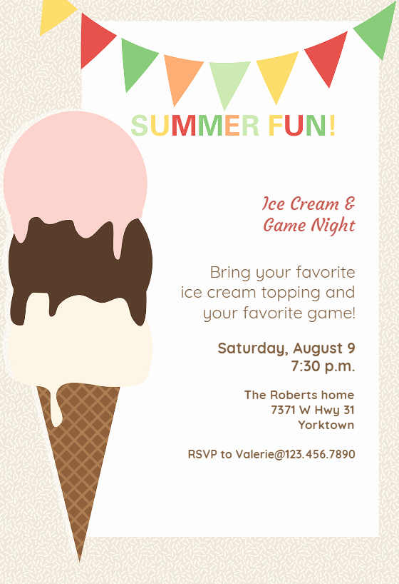 Ice Cream social Invite Template New Ice Cream Pool Party Invitation Template Free