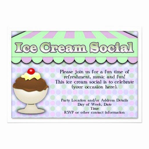 Ice Cream social Invite Template New Ice Cream social Purple Green Stripe Sundae 5x7 Paper