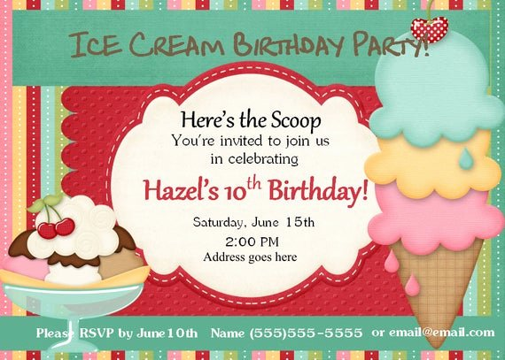 Ice Cream social Invite Template New Ice Cream Sunday Ice Cream Invitation Ice Cream social