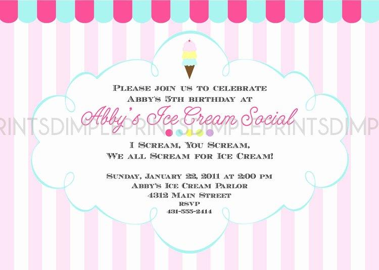 Ice Cream social Invite Template Unique Ice Cream social Printable Party Invitation Dimple