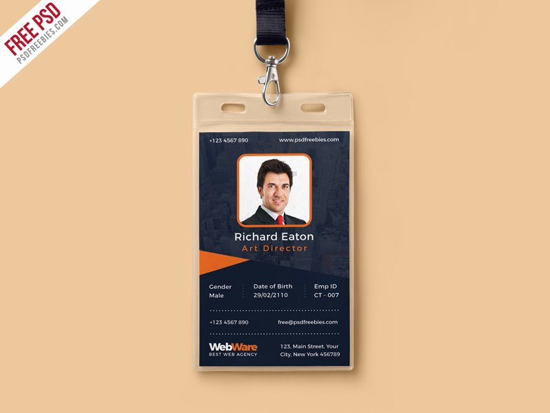 Id Card Template Photoshop New Vertical Pany Identity Card Template Psd