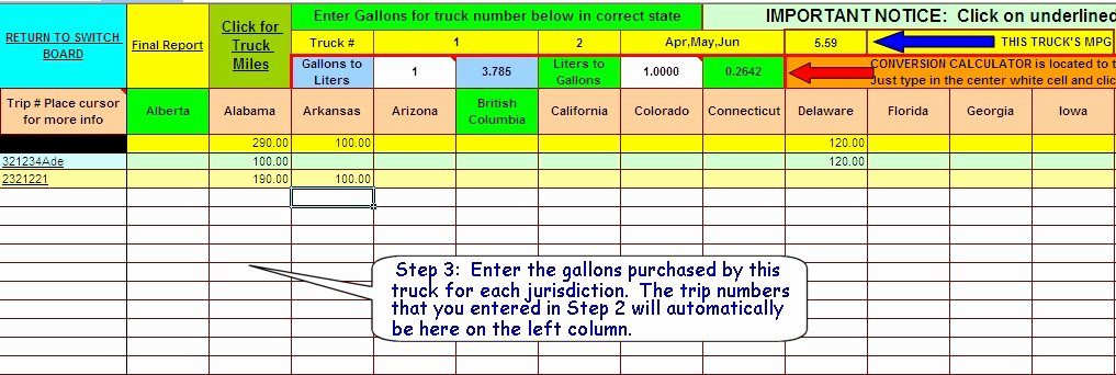 Ifta Trip Sheet Template Best Of ifta Fuel Tax software Excel Spreadsheet for Truckers