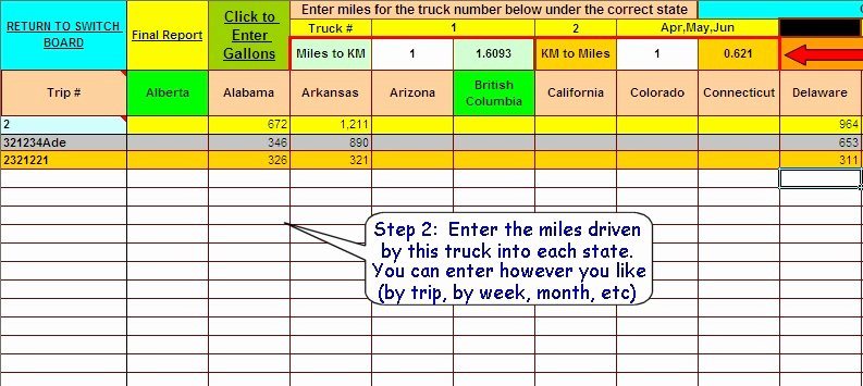 Ifta Trip Sheet Template Lovely ifta Fuel Tax software Excel Spreadsheet for Truckers
