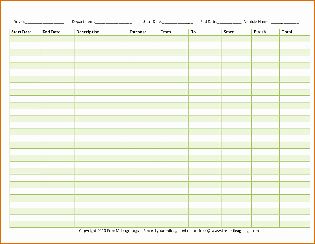 Ifta Trip Sheets Template Beautiful 5 Mileage Log Template