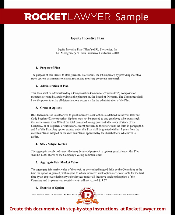 Incentive Plan Template Awesome Equity Incentive Plan for S & Stocks Template