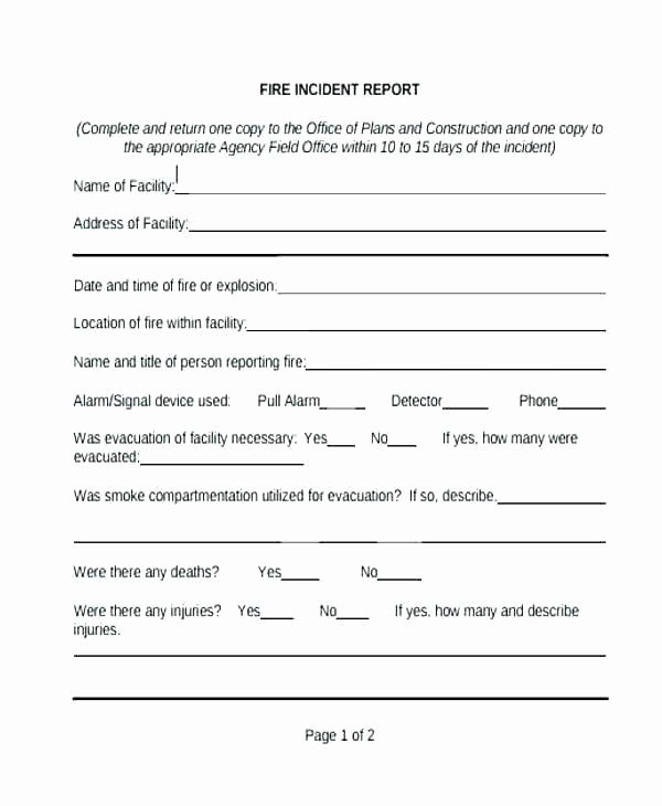 Incident Report Log Template Luxury Fire Incident Report