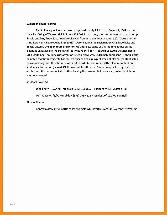 Incident Statement Letter Sample Beautiful Incident Report Sample Letter All About Sample Letter