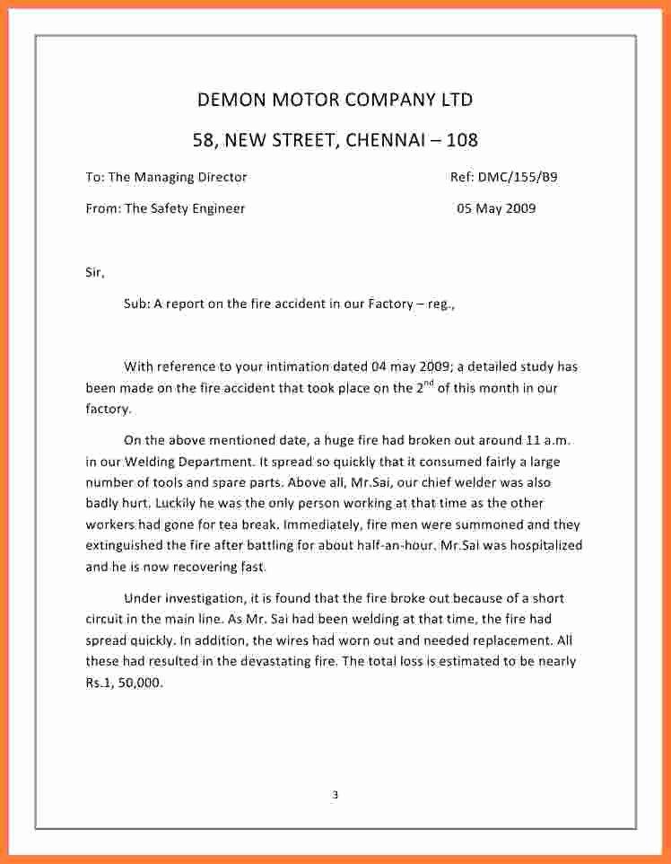 Incident Statement Letter Sample Best Of 9 Incident Report Sample