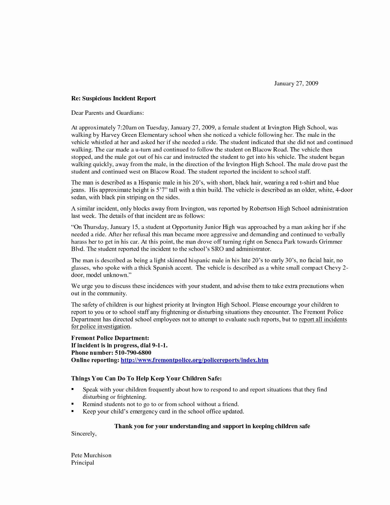 Incident Statement Letter Sample Elegant Report Cover Letter Sample General Performance Account