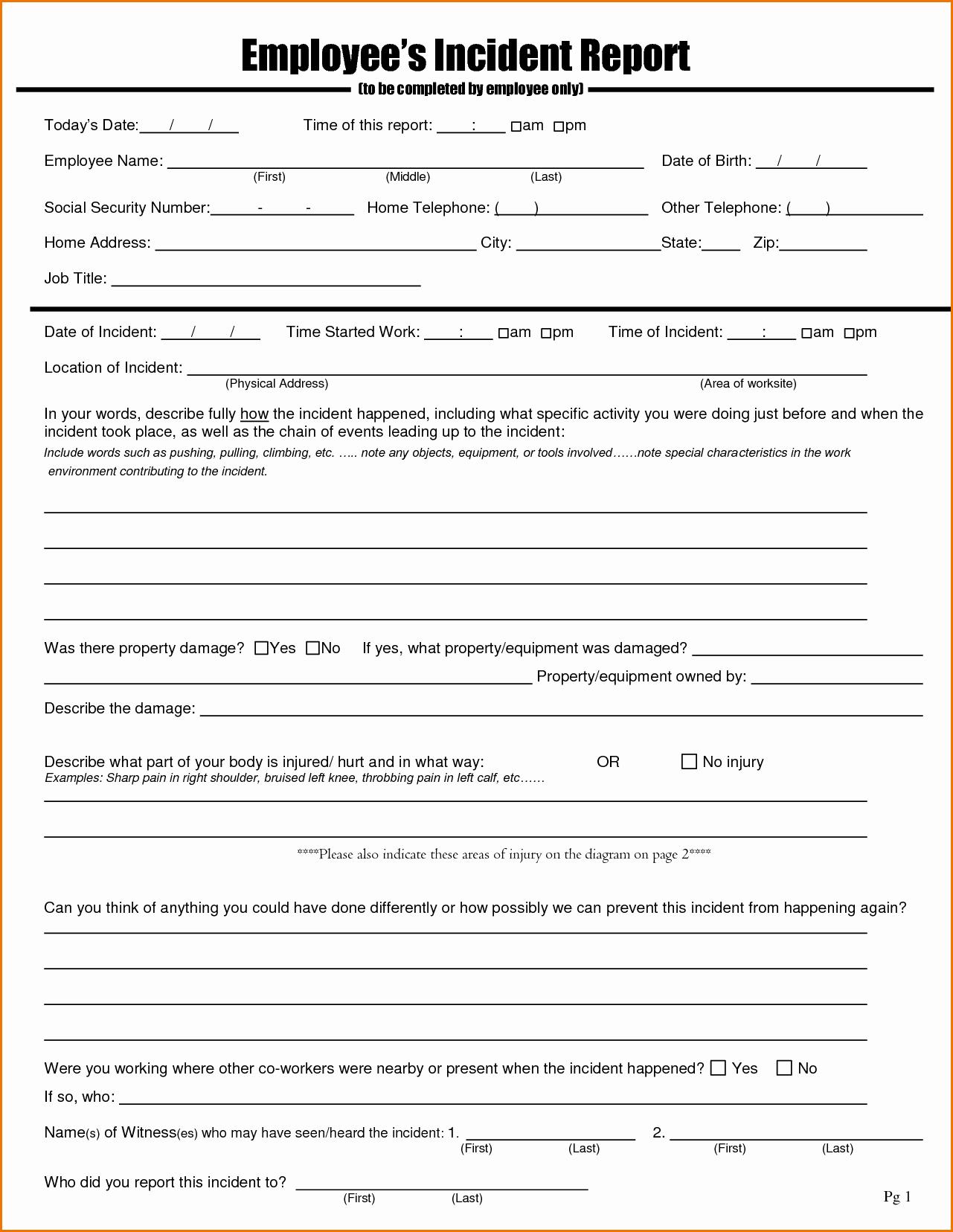 Incident Statement Letter Sample Fresh Employee Incident Report Sample