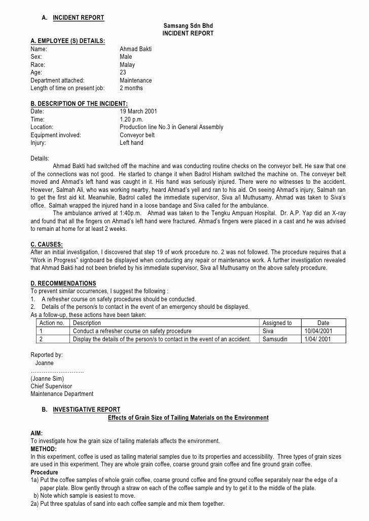 Incident Statement Letter Sample Inspirational 6 Incident Report Letter Examples Pdf