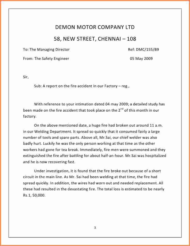 Incident Statement Letter Sample Lovely 6 Incident Report Letter Examples Pdf
