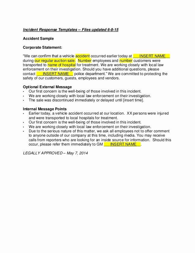 Incident Statement Letter Sample New John Heid Writing Samples Incident Response Writing Samples