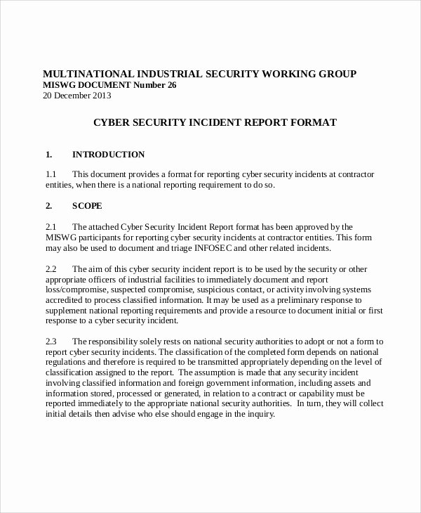 Incident Statement Letter Sample Unique 10 Sample Security Incident Reports Pdf Word Pages