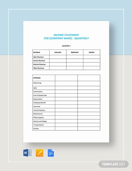 Income Statement Template Word Elegant In E Statement Template 23 Free Word Excel Pdf