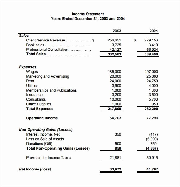 Income Statement Template Word Fresh 6 Free In E Statement Templates Word Excel Sheet Pdf