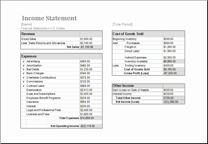 Income Statement Template Word Inspirational Ms Excel In E Statement Editable Printable Template