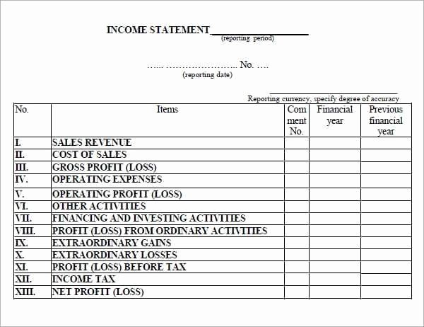 Income Statement Template Word Luxury 6 Free In E Statement Templates Word Excel Sheet Pdf
