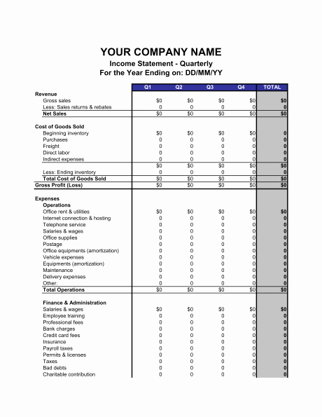 Income Statement Template Word Luxury Profit and Loss Statement Example Excel – Profit and Loss