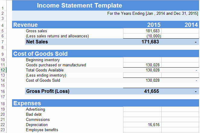 Income Statement Template Word New In E Statement Template Excel Free